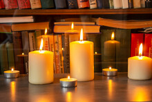 Beautiful Hand Made Honey Bee Wax Candles Of Different Shapes Lit By Sunlight