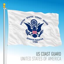 US Coast Guard Flag, United States Of America, Vector Illustration