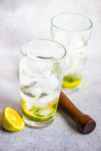 Lemon Water With Ice And Mint In Glass