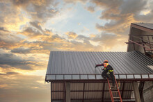 Roofer Construction Worker Install New Roof