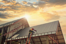 Roofer Construction Worker Install New Roof,Roofing Tools