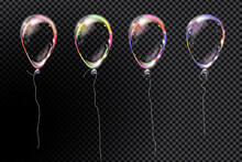 Set Of Realistic Air Helium Balloons With Ribbon. Colorful Transparent Collection Of Festive Ballons Isolated In Air. Party Decorations For Birthday, Anniversary, Celebration. 3d Vector Illustration