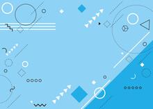 幾何学模様が飛び交う元気で楽しい雰囲気の背景デザイン