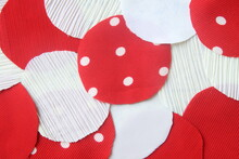 Many Circle Red And White Rag Fabric For Background