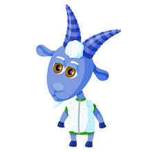 Cute Goat In Cartoon Style Isolated On A White Background. The Animal Stands On Its Hind Legs And Is Dressed In A Fur Vest. Character In Blue.