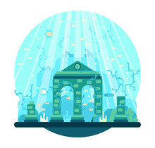 The Arch And Destroyed Columns Stand On The Seabed Among Fish And Algae. Vector Illustration