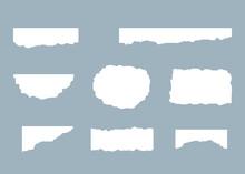 Torn Paper Rip Sheet Scrap White Set Vector Illustration