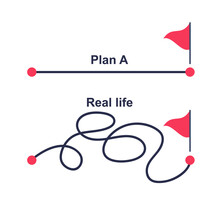 Plan A And Plan B. Real Life. Vector Illustration Flat Design. Real Plan Heavy And Unpredictable.