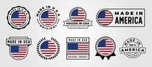 Set Of Made In Usa Label Vector Symbol Illustration Design, Made In America Label Design