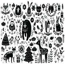 Vector Set Of Cute Animals Fox Bear Rabbit Squirrel Wolf Hedgehog Owl Vector Design Vector Illustration Print Poster Wall Art Canvas