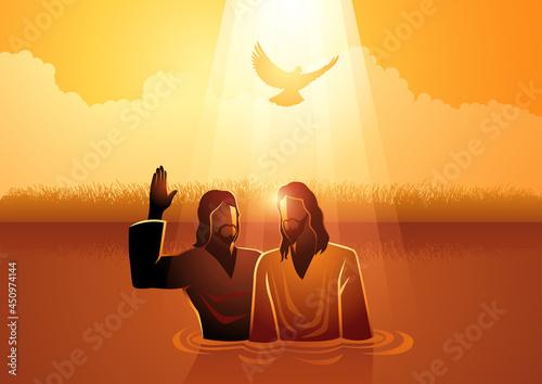 Fotografie, Obraz Jesus baptised by John the Baptist