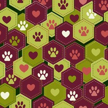 Seamless Pattern Background With Hearts And Footprints Of Home Pet In Hexagons. Vector. Good For Decoration Of Wrap, Goods For Pets.