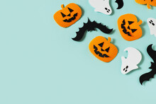 Halloween Party Concept With Fun Paper Decor, Pumpkins, Ghost