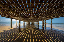 Wooden Human Made Pier At Virgin Beach Of Dabo Singkep