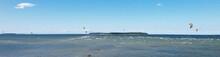 Aerial View Of Kiteboarding On Baltic Sea. Salmistu Beach In Estonia Is A Popular Spot For Kite Surfing.