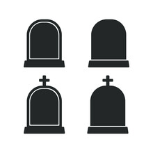 Gravestone With Cross Logo, Tombstone Icon, Headstone Silhouette Vector Clipart Set. Simple Flat Modern Design.