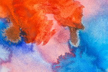 Abstract Watercolor Background In Shades Of Red And Blue