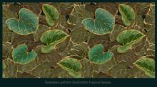 Seamless Pattern Illustration Hand Drawn Art Of Caladium Foliages.