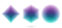 Set Of Vector Abstract Geometric Shape Square Hexagon And Circle By Colorful Pastel Gradient Transparent Green And Purple Color Overlay For Design Elements, Background, Banner Modern Style.