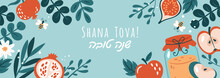 Jewish Holiday Rosh Hashanah Banner Design With Honey, Apple And Pomegranate. Greeting Card Template Background. Hebrew Text : Happy New Year