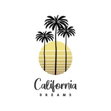 T-shirt Print With Palm And Moon California Vintage Illustration. Vintage Poster.