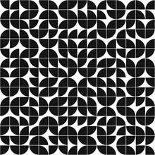 Black Quarters Ornament. Vector Quarter Of Circle Pattern.