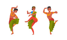 Young Man And Woman Indian Dancer With Bindi In Traditional Clothes Performing Folk Dance Vector Set