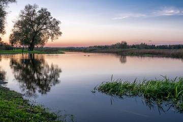 Natura, pejzaż, jezioro, niebo, zachód słońca