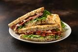 Fototapeta Kawa jest smaczna - Fresh BLT Sandwiches with Bacon Lettuce and Tomato on white plate