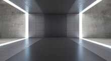 Modern Gray Concrete Interior With Lights And Mock Up Place Runway. Fashion Walk And Exhibition Concept. 3D Rendering.