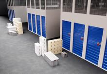 Self Storage Space. Warehouse Storage Corridors. Rental Storage Units. Boxes Next To Blue Units. 3d Image