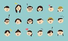 多様な家族を構成するための顔アイコン 祖父 祖母 父 母 子供 赤ちゃん