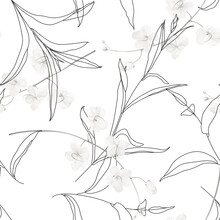 Floral Seamless Pattern, Black And White Golden Shower Flowers And Line Art Leaves On White