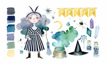 Halloween Witch Coven Watercolor Elements Set