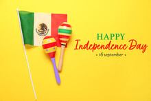 Greeting Card For Independence Day Of Mexico With Mexican Flag And Maracas
