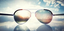 Polarized Sunglasses On Sunny Sky UV Protection