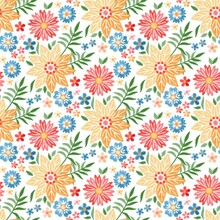 Amazing Spring Print With Flowers And Leaves Embroidered With Satin Stitch On A White Background. Seamless Vector Ornament For Wallpaper, Fabric. Embroidery.