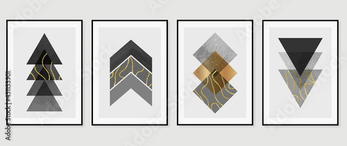 Abstract art black and white background vector. Minimal hand painted watercolor and line art illustration.  Design for wall decoration, wall arts, cover, postcards, brochure.
