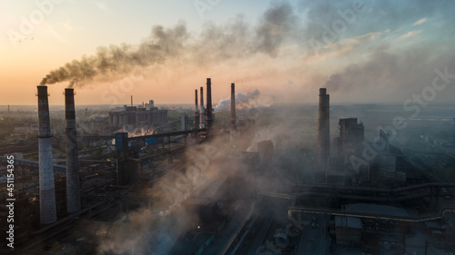 Photo metallurgical plant heavy industry poor ecology top view smoke from chimneys smo