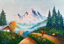 Original Oil Painting The Cottage And The Mountain