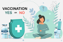 A Beautiful Girl Thinks Whether She Will Be Vaccinated Or Not. Yes Or No. Coronavirus Vaccination Concept. Pandemic Concept
