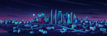 Simple Flat Illustration Of Kuala Lumpur City In Malaysia And Skyline Landmarks. Panorama Cityscape Of Middle Kuala Lumpur. Famous Buildings And Landmarks Included Malaysia. City Center Night Time