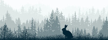 Horizontal Banner. Silhouette Of Rabbit Standing On Meadow In Forrest. Silhouette Of Animal, Trees, Grass. Magical Misty Landscape, Fog. Blue, Gray, Black Illustration. Bookmark.