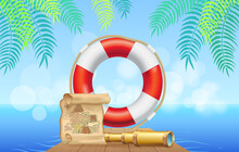 Marine Inventory On Tropical Background. Lifebuoy, Treasure Map And Spyglass For Being At Sea. Pirate Equipment, Nautical Design Items. Inflatable Lifebuoy Near Pirate Items Vector Illustration