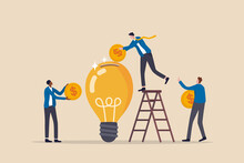 Fundraising Idea, Funding New Innovative Project, Donation, Investing Or VC Venture Capital To Support Startup Idea Concept, Business People Donate Or Contribute Fund Raiser New Lightbulb Project.