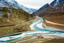 Confluence Of The Indus And Zanskar Rivers Which Are Almost Frozen Due To Extreme Cold During Winter And Famous For Chadar Trek At Leh,Ladakh,India