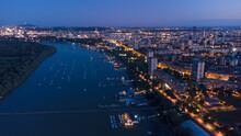 Drone Night View Belgrade City, Serbia.