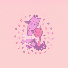 Vector Illustration Of Cats In Love For A Romantic Day. Pictures Of Cats In Vector Format For The Design Of A Romantic Celebration, Postcards, Posters, Invitations, Hot Stand, Souvenirs.