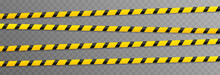 Vector Set Of Warning Tapes. Yellow Tape, Danger Zone, Police Tape Png.