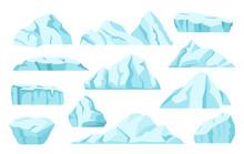 Cartoon Icebergs, Arctic Ice Rocks, Antarctic Glaciers. North Pole Frozen Icy Mountain, Ice Floe, Floating Iceberg, Frozen Blocks Vector Set. Clear Aqua Frozen Pieces Isolated On White